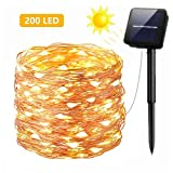 Solar String Lights 72ft with 200 LEDs Bendable Copper Wire Light Rope light