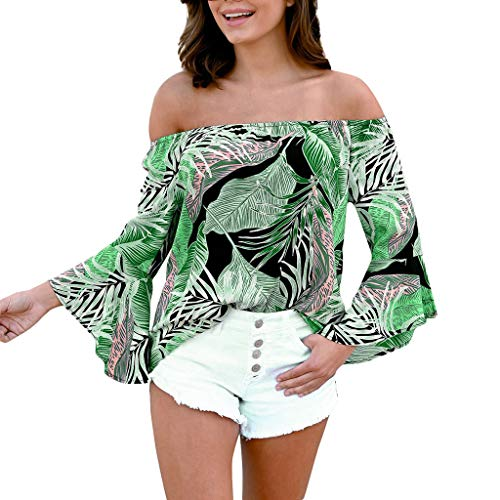 Damen Off Shoulder T Shirts Strand Langarmshirt Brasilien Hawaii Drucken Streetwear Lose Langarm Sexy Party T Shirt Kostüm Top Sexy Bluse Damen Oberteile Frauen Tops Oberteil Frühling Herbst Sommer (Frühlings-frauen-tops)