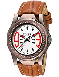 Timer Chronograph White Dial Analog Brown Strap Wrist Watch For Men & Boys