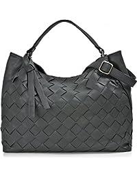 Hochwertige Damen Handtasche - Umhängetasche mit abnehmbarem Schulterriemen - Hobo Bag in Flechtoptik - 40 x 29 x 13,5 cm - Henkeltasche von MIYA BLOOM
