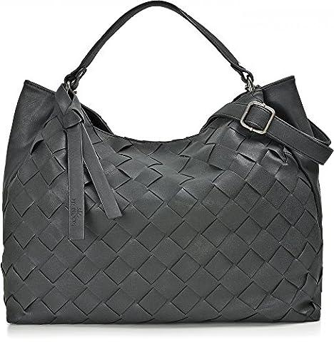 Hochwertige Damen Handtasche - Umhängetasche mit abnehmbarem Schulterriemen - Hobo Bag in Flechtoptik - 40 x 29 x 13,5 cm - Schwarze Henkeltasche von MIYA (Zwei Taschen Hobo)