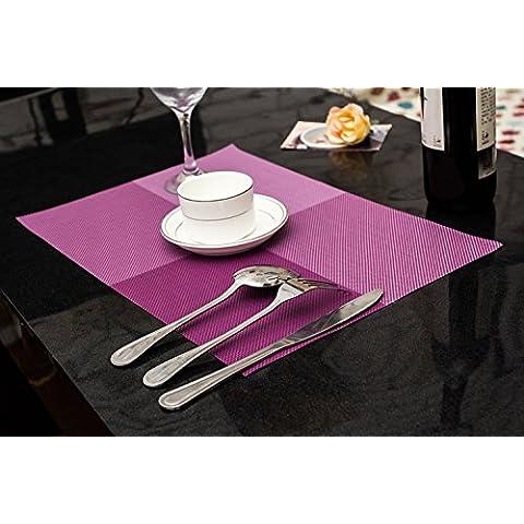 Clest F&H trenzado Cross grid purple PVC Mantel individual / Salvamanteles para comedor , Juego de 2 piezas 45 x 30 cm