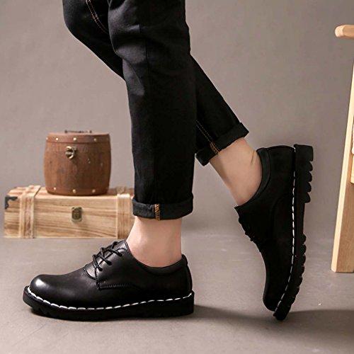 ZXCV Scarpe all'aperto Pattini di cuoio scarpe casual degli uomini Scarpe da testa britanniche scarpe basse Nero
