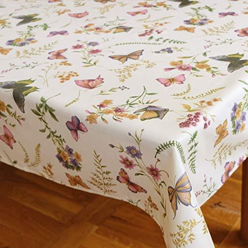 Kamaca Serie Schmetterlinge AUF DER BLUMENWIESE in Creme mit zarten Pastelltönen EIN Schmuckstück in jedem Raum (Tischdecke eckig 100x140 cm)