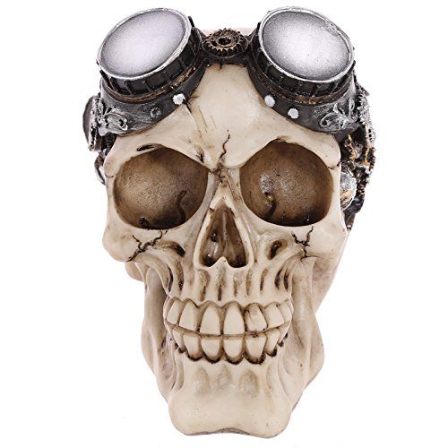 Gothic Steam Punk Totenkopf Dekoration mit Brille (Rock & Roller Brille)