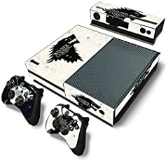 Elton Winter Is Coming Stark Theme Skin Sticker Cover for Xbox One Console, Kinect & Controllers