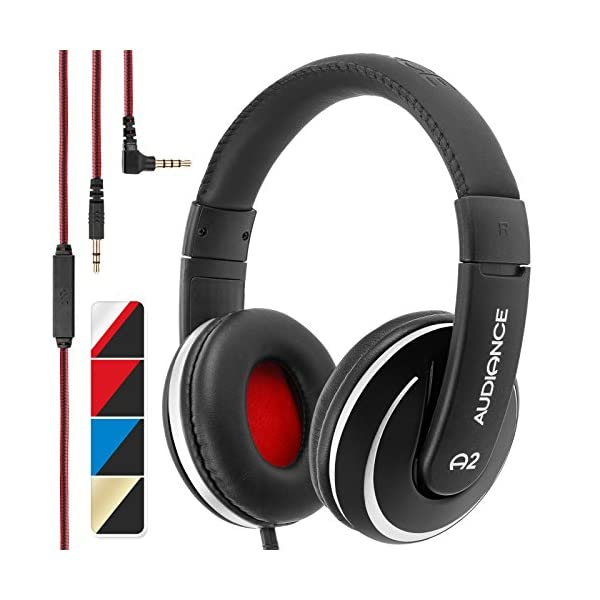 Audiance A2.0 Premium Over-Ear Stereo Headphones with Detachable Cable & 3.5mm Jack | Noise Isolating Wired Headset with Built-In Microphone for Hands Free Calls 51EnhqzdYPL