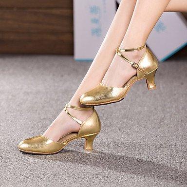 XIAMUO Damen Tanz Schuhe Bauch/Latin/Dance Sneakers/Modern/Swing Schuhe/Salsa/Samba Leder kubanischen HeelBlack/Rot Gold