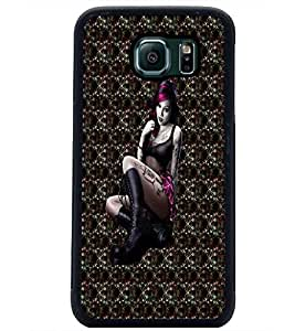 PrintDhaba Bold girl D-3004 Back Case Cover for SAMSUNG GALAXY S6 EDGE (Multi-Coloured)