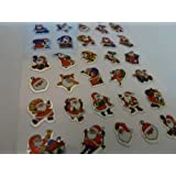 Xmas Santa Stickers - Kids / Childrens Father Christmas Labels for party bags , scrap books , card making or notebook decoration , stocking filler
