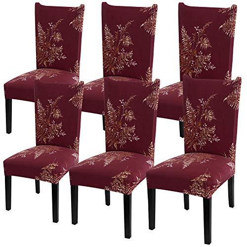 YISUN Universal Stretch Stuhlhussen 4er 6er Set Stuhlbezug für Stuhl Esszimmer (6er Set, ROT)