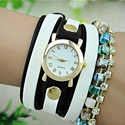 SSITG Women's Quartz Watch with Black Dial Analogue Display Leather Band Beads Wrap Bracelet Wristwatch Watch Gift Gift