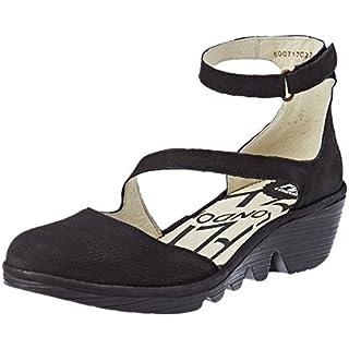 Fly London Women's Plan717Fly Ankle Strap Heels, Black, 6 UK 39 EU