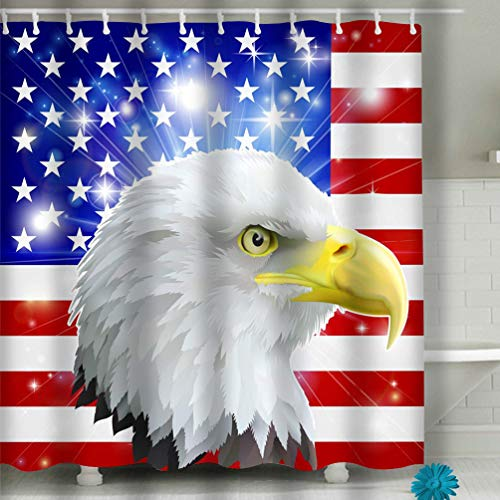 Safe - Non Toxic and No Odors - Eco Friendly Heavy Duty Peva - Naturally Mold 60x72 INCH American Eagle Flag America Love Heart Concept bal ()