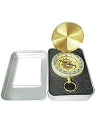 Besty Wasserdichter Kompass Compass Taschenkompass Messingkompass in Form von Taschenuhr mit Leuchtziffern mit Metalbox für Wandern Camping Outdoor Kupfer