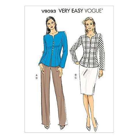 Vogue Patterns V9093E5 14/16/18/20/22 Patron de veste/jupe/Pantalon pour femme