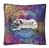 Sophia Art Tye Dye Blumenkissen, großes Bodenkissen, Übergroße Mandala-Sitzgelegenheit, Wohnzimmer-Dekoration, Hund Katze Bett, Ottoman, Yoga, Meditation, Indoor Outdoor Pouf (Mehrfarbig)