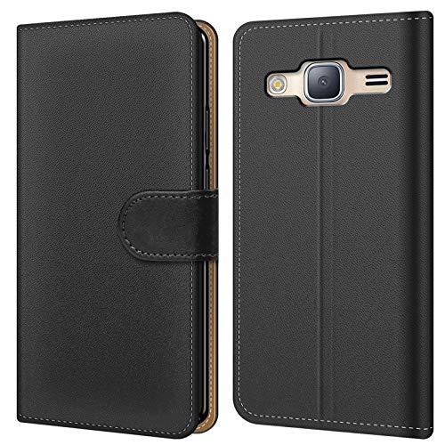 Conie BW30667 Basic Wallet Kompatibel mit Samsung Galaxy J3 2016, Booklet PU Leder Hülle Tasche mit Kartenfächer und Aufstellfunktion für Galaxy J3 2016 Case Schwarz