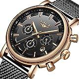 Reloj de Hombre Impermeable Los Deportes Relojes de Cuarzo Analógicos Simplicidad Clasica Cronógrafo de Moda Acero Inoxidable Negro Cadena de Red Reloj Fecha del Calendario