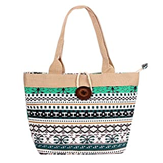 AiSi Canvas Tote Bag Vintage Button Holiday Beach Shoulder Handbag