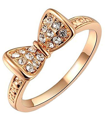 Gnzoe Gioielli, Placcato Oro Rosa Oro Anelli Bow Tie Forma Cubic Zirconia Anello di Promessa Per Ragazza Donna