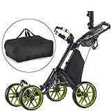 CaddyTek un clic Piegati Carrello da Golf cart 4 ruote con la borsa-LIME