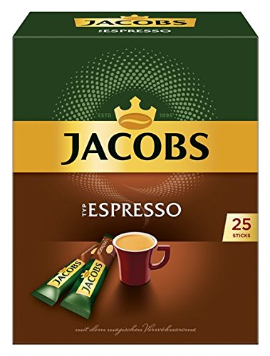 Jacobs Espresso Instant-/ Löskaffee Sticks, 4er Pack (4 x 25 Getränke)