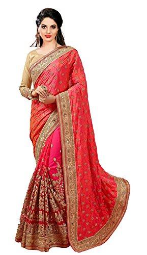 Panash Trends Women's Heavy Embroidery Work Satin Silk Saree (K579.P.P.O.G.B.R)