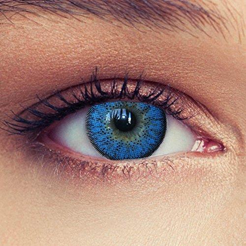 """Lentillas de color azul natural de tres meses sin dioprtías / corregir + gratis caso de lente """"Natural Aqua"""""""