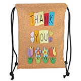 GONIESA Drawstring Sack Backpacks Bags,Thank You Decor,Gratitude Themed Quote on Little Hanging Papers Post It with Flowers Print,Multicolor Soft Satin,5 Liter Capacity,Adjustable String Closur