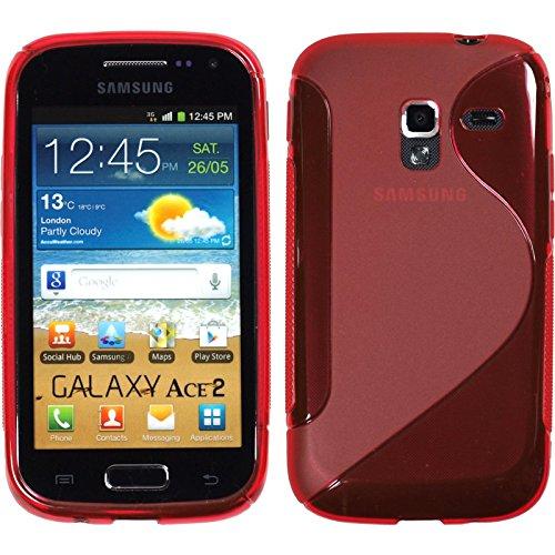 Preisvergleich Produktbild PhoneNatic Case für Samsung Galaxy Ace 2 Hülle Silikon rot S-Style Cover Galaxy Ace 2 Tasche + 2 Schutzfolien