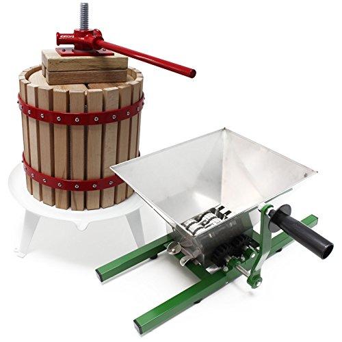 Wiltec Obstpresse 12l inkl Presstuch und Obstmühle 7l zur Maischeherstellung