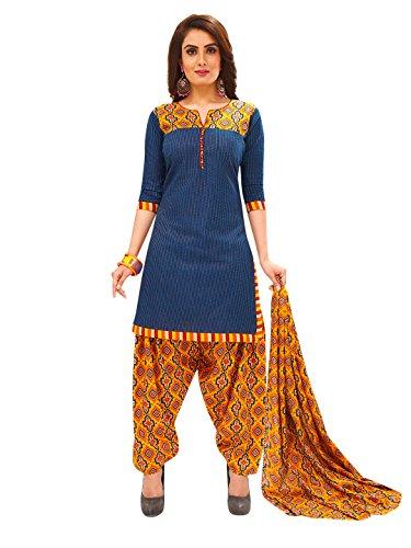 Jevi Prints Women's Unstitched Cotton Blue & Gold Geometric Printed Patiyala Style...
