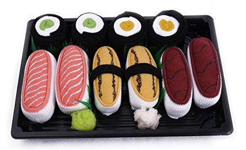 Calcetines del Sushi, 5 pares de calcetines: Salmón,Tamago,Atún,Maki de Pepino,Maki de Oshinko Traordinario Regalo, Fabricado en EU, ex Tallas EU 36-40, Más alta Calidad, Idea Original