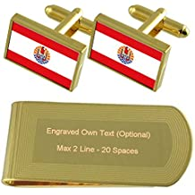 La Polinesia Francesa Bandera tono Oro gemelos Money Clip grabado Set de regalo