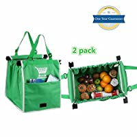 SEPT MIRACLE Eco-friendly Green Reusable Washable Reinforced Grocery Shopping Bag [2 pack]