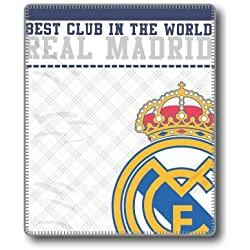 Style Real Madrid Manta, Poliéster, Blanco, Individual, 130x160x3 cm