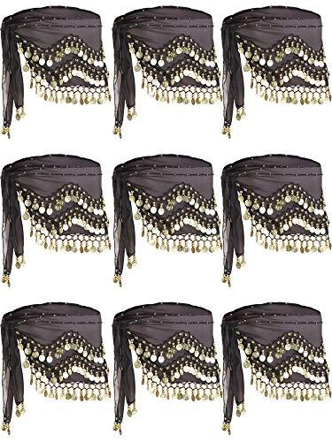 9 Packung Schwarz Bauchtanz Rock Hüfttücher Taille Kostüm Gürtel Chiffon Schlenker Belly Zumba Tanz Pailletten Hüfttücher Wickel Gürtel mit 128 Gold Münzen