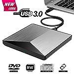 Externes DVD Laufwerk, BOSLISA USB 3.0 Tragbar DVD/CD Brenner, 100% Neu Chip Superdrive für Alle Laptops/Desktop Notebook unterstützt Windows 10/8/7/2003/XP/Mac OS - (Silber)