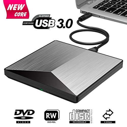 Externes DVD Laufwerk, BOSLISA USB 3.0 Tragbar DVD/CD Brenner, 100% Neu Chip Superdrive für alle Laptops/Desktop Notebook unterstützt Windows 10/8/7/2003/XP/Mac OS - - 8 Desktop-computer Windows