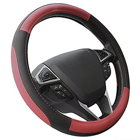 Microfiber Leather Red And Black Steering Wheel Cover Universal Fit