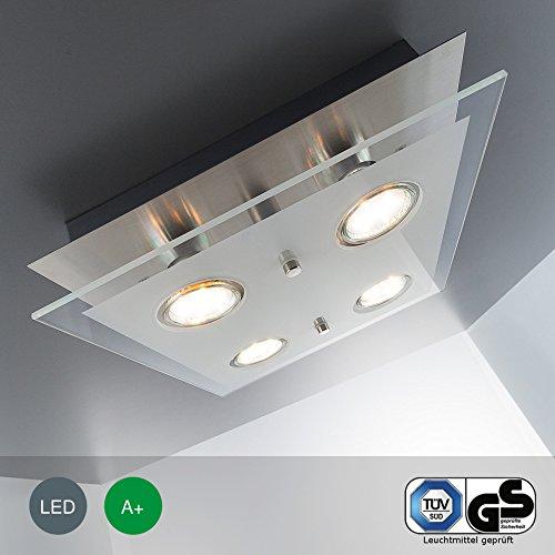 LED-Deckenleuchte Deckenlampe Wohnzimmer GU10 4 flammig a 3 Watt 4 x 250 Lumen Schlafzimmer chrom matt-nickel Deckenstrahler Strahler GU 10 viereckig Flur Küche Kinderzimmer