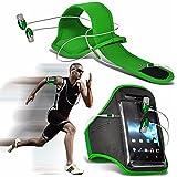 """Huawei P10 Lite (5.2"""") - Sport Laufen Jogging Ridding Bike Cycling Gym Arm-Band-Kasten-Beutel-Abdeckung & Premium-Qualität aus Aluminium In-Ear-Ohrhörer Stereo-Freisprecheinrichtung Kopfhörer Kopfhörer-Kopfhörer mit integriertem Mikrofon Mic & On-Off-Taste - Green"""