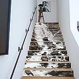 3D Wasserfall Landschaft Treppen Aufkleber Wohnzimmer Schlafzimmer Kreative Wandaufkleber 13 Stücke (39 4 Zoll × 7 Zoll)