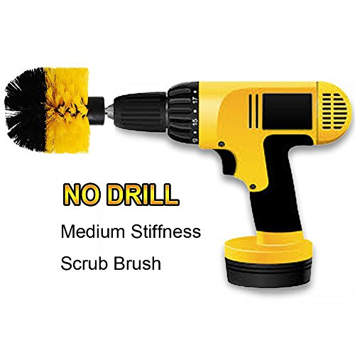 OxoxO HSS-Bürste - Round Power Drill Attachment Medium Stiffness Scrubbing Scrub Cleaning Brush for Cleaning Bathroom, Tile and Grout, Showers, Carpet, Tires, Boats - Heavy-duty-high-lift