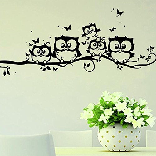 CLOOM Eule Schmetterling Wandaufkleber Wandbild entfernbare Wand Aufkleber heiraten Wohnzimmer Decor Aufkleber Abnehmbarer Wandaufkleber Schwarz und Rot wandaufkleber kinderzimmer Wandtattoo (Schwarz)