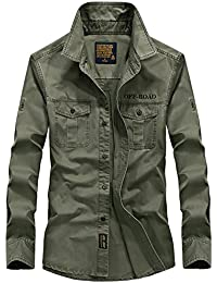 YYZYY Homme Classique Cotton Printemps Été Automne Militaire Bomber Casual  Manche Longue Chemises Shirts 7183dfae9b9d