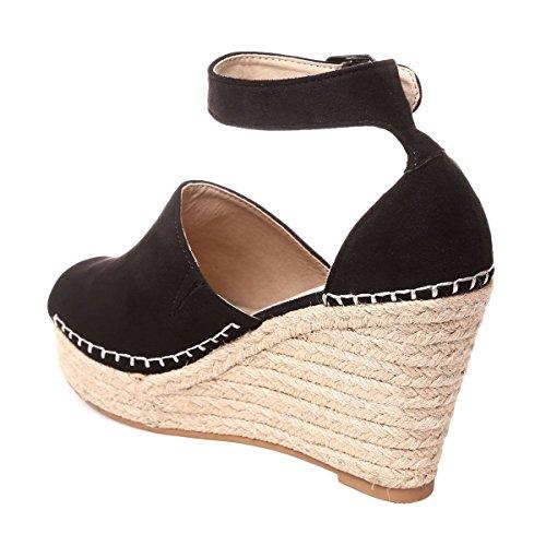 La Modeuse - Sandales compensées femme en suédine Noir