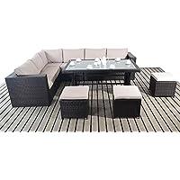 Moderno tavolo da giardino con divano ad angolo, 3 Modular un divano a 2 posti, con tavolo da pranzo, con ripiano in vetro e sedie, cuscini 0,91 Meters spessi, set di mobili da giardino