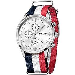 Megir Men Sport Luminous Canvas Strap Watches